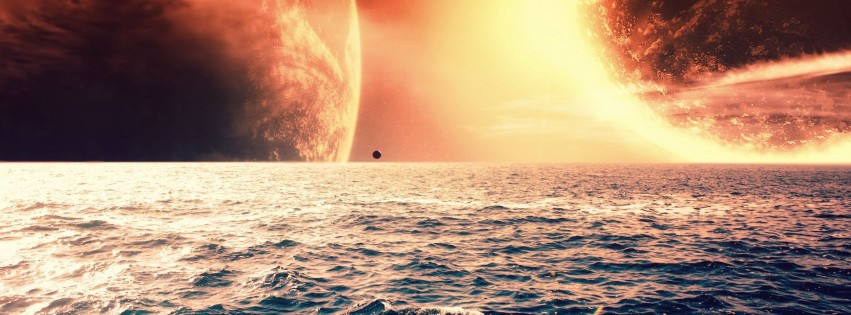 The red planet on the sea horizon